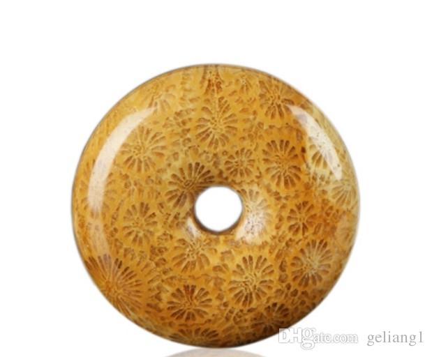 Saf doğal mercan (krizantem yeşim) el yapımı vintage ping bir (dört mevsim barış) kolye pendan