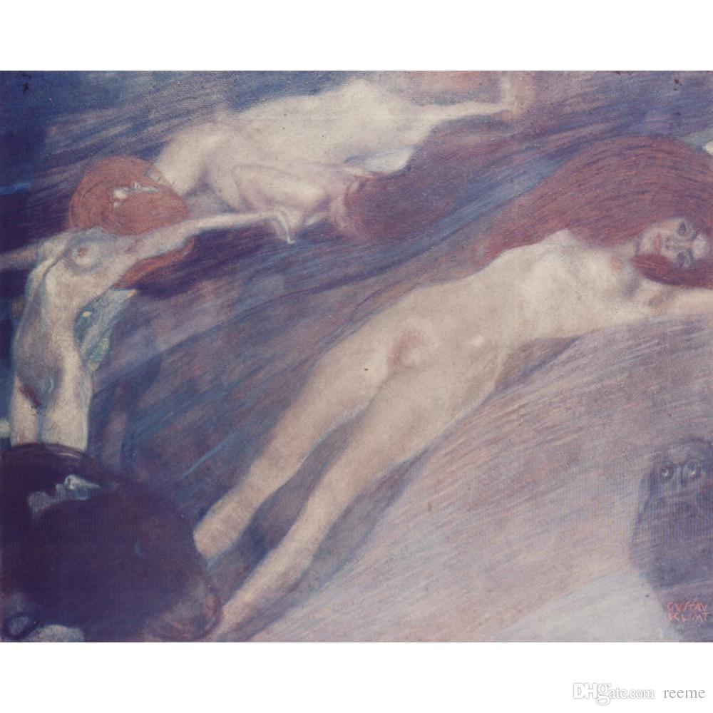 Pinturas decorativas Gustav Klimt bewegte wasser arte para decoração de parede óleo pintado à mão sobre tela