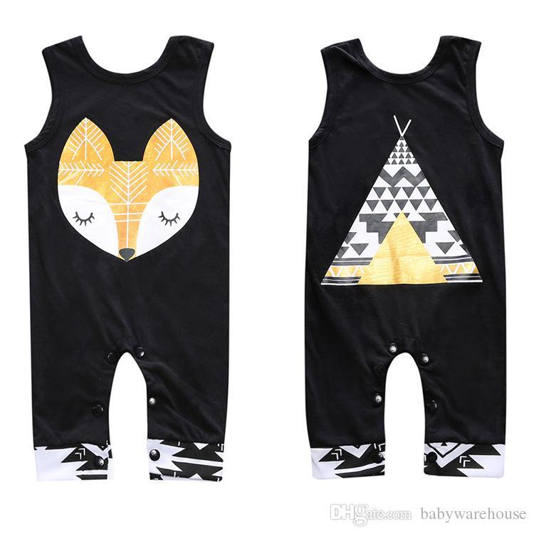 Infant Baby Rompers,Newborn Boys Girls Jumpsuit Sleeveless Cartoon Animal Printed Bodysuit Sunsuit Outfits 2019 New