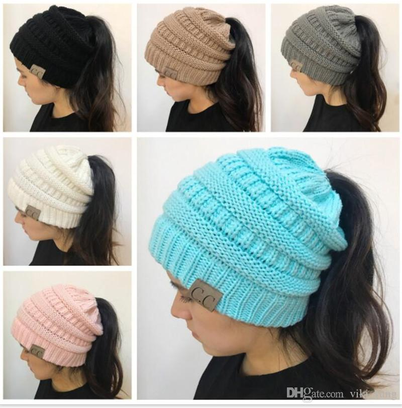 d8cfa2441 Trendy Women CC Ponytail Caps Knitted Beanie Fashion Girls Winter Warm Hat  Back Hole Pony Tail Autumn Casual Beanies Skull Caps Stocking Cap From ...