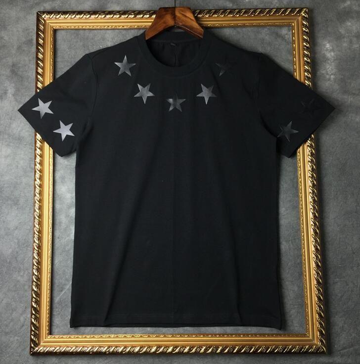 Marca de fábrica superior del verano 2019 Camiseta para hombre de manga corta negro Blanco estrella de cinco puntas Camiseta Hombre Camiseta del diseñador Camiseta redonda de la manera del cuello de la camiseta
