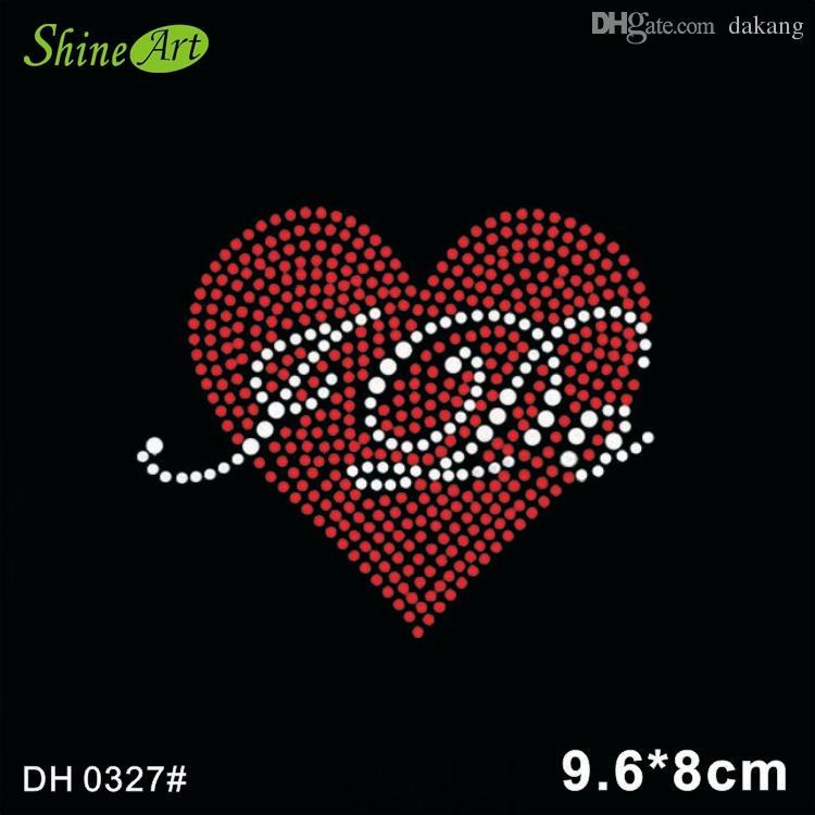 Livraison gratuite Bling coeur je fais la conception de transfert de chaleur en strass DIY DH0327 #