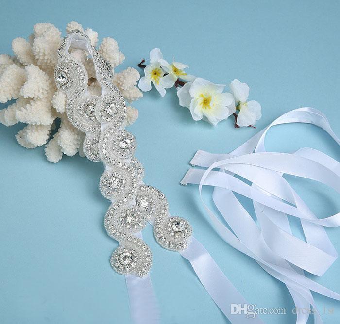 Hot Sale 2017 White Ivory Satin Rhinestone Bridal Sash Wedding Belt Cheap Bling Bling Prom Party Sashes Custom Made EN12151