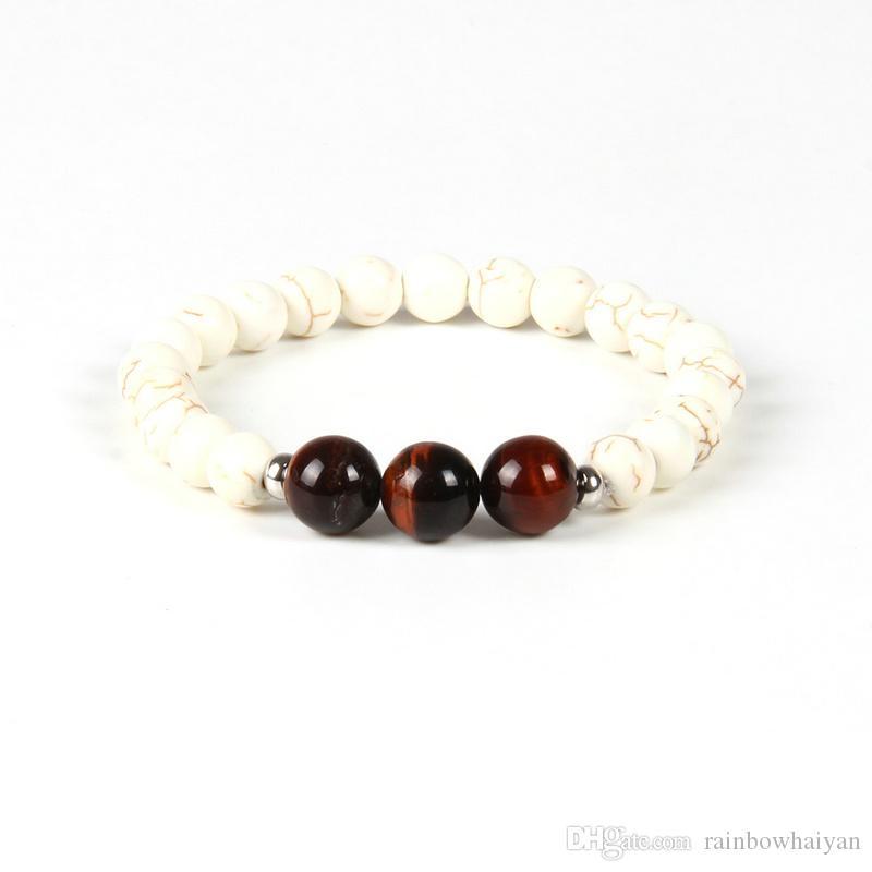 New Designs Beaded Fashion Bracelet Wholesale 10pcs/lot 10mm Natural Red Tiger Eye Stone Beads White Bracelet for men