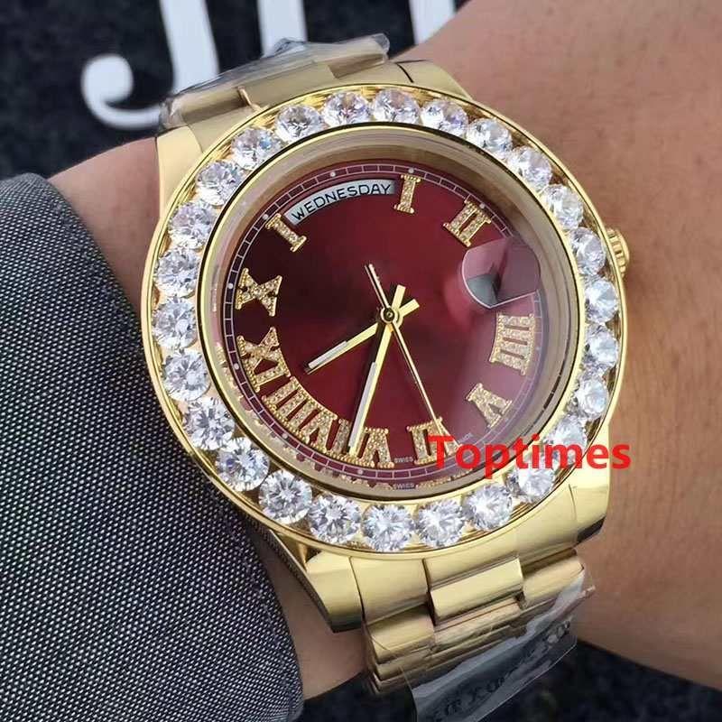 Presidente de lujo oro 18K Day-Date Ginebra Hombres reloj de diamantes papel Bisel automático de muñeca de los hombres Reloj Reloj Relojes de pulsera