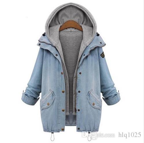 2016 donne autunno inverno blu con cappuccio con coulisse Jean Swish tasche due pezzi capispalla donna manica lunga bottoni cappotto spedizione gratuita
