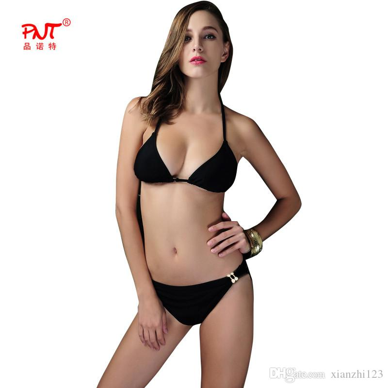 2020 early spring fashion style Bikini Bottom Thong Black Push Up Biquini Super Popular Thong Two Pieces Swimwear Metal Decorations Swimsuit