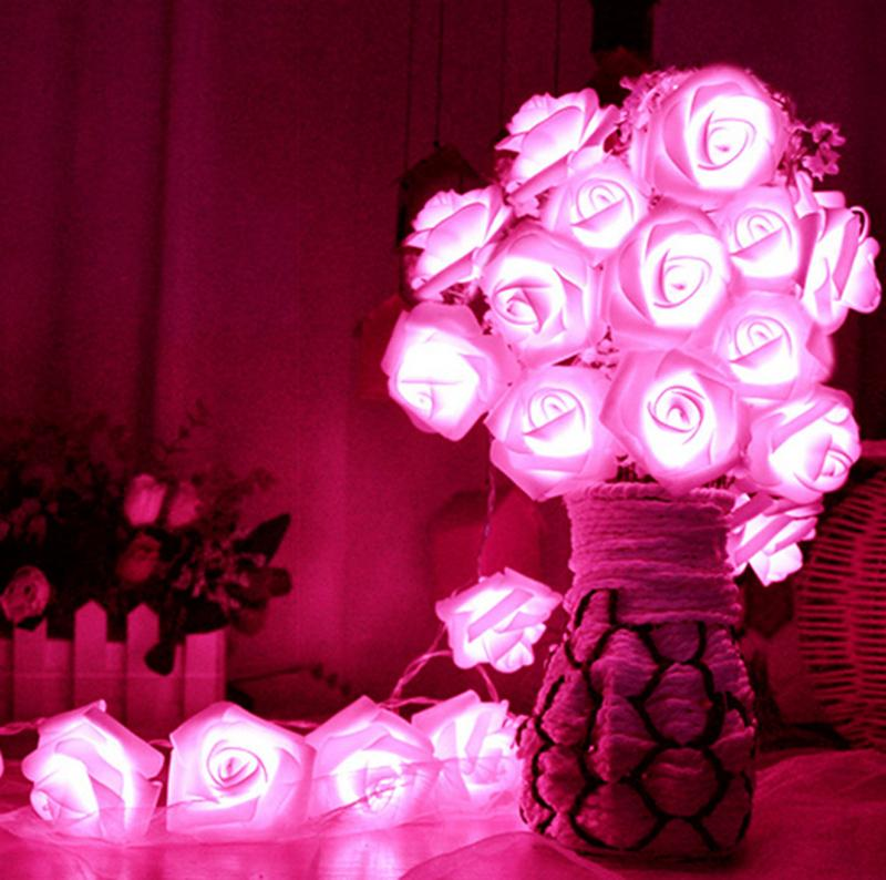 도매 - 로맨틱 (20) LED 조명 장미 꽃 문자열 요정 라이트 홈 침실 정원 장식 웨딩 파티 장식 인공 식물