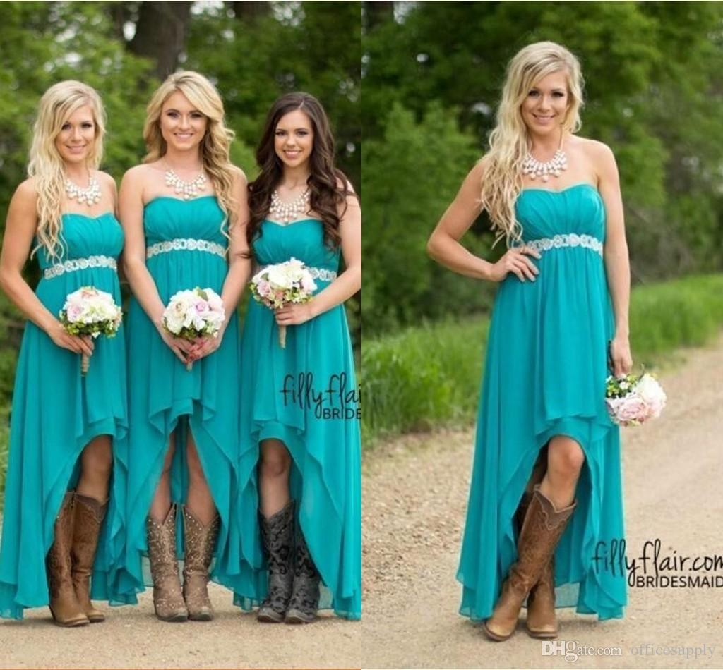 new arrive lovely design top brands Cheap Country Bridesmaid Dresses 2019 Teal Turquoise Chiffon Sweetheart  High Low Long Peplum Wedding Guest Bridesmaids Maid Honor Gowns Children ...