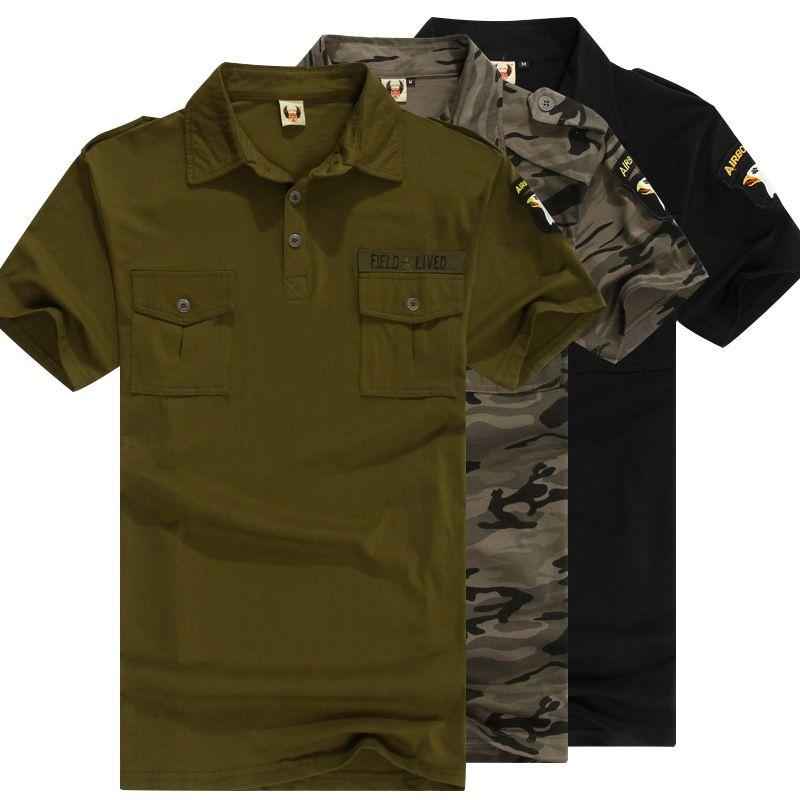 군사 유니폼 육군 녹색 코튼 폴로 셔츠 망 짧은 소매 위장 셔츠 스포츠 전투 전술 톱 남성