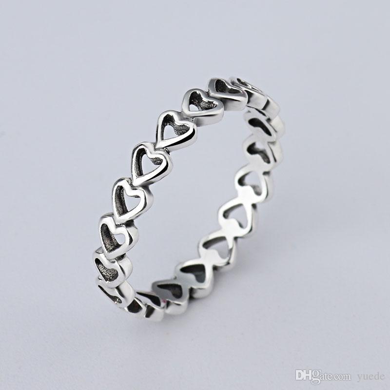 Un gros Simple LOVE anneaux 925 Signature Silver Fit Fit Pandora Cubic Zircon Anniversaire Bijoux pour Femmes cadeau De Noël