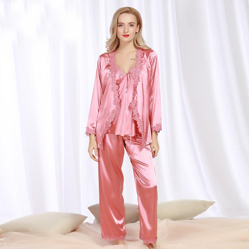 61c6142de68 SSH078 Spring Autumn Satin Silk Women Pajama Set of Long Sleep Blouse Pant  Top Quality Lady
