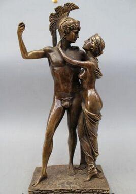"""Bakır Pirinç ÇIN el sanatları Asya 18 """"Batı Sanat Bronz Heykeli Ünlü Iki Erkekler Kadınlar adam ve eşi Heykeli Heykel"""