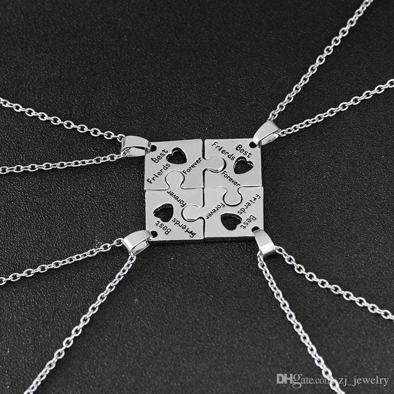4Pcs BFF Charm Jigsaw Puzzle Pendant Necklaces Leterring 'Best Friends Forever 'Friendship Happy Birthday Gift for Women Men