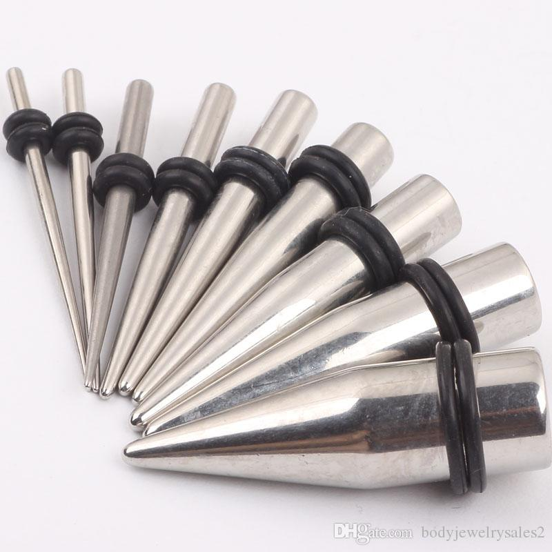 Ear taper tunnels P10 90pcs mix 1.6-10mm body jewelry ear expander stainless steel ear taper