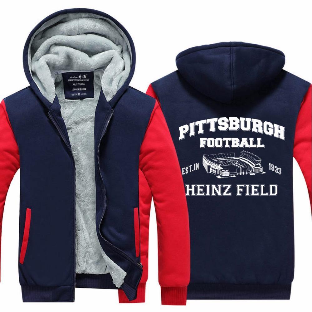 Erkekler Rasgele Pittsburgh Boş Kapüşonlular Kaşmir Kış Kalınlaşmak Fermuar Tişörtü Kabanlar Ceket Hırka Coat Uzun Kol ABD eşofman