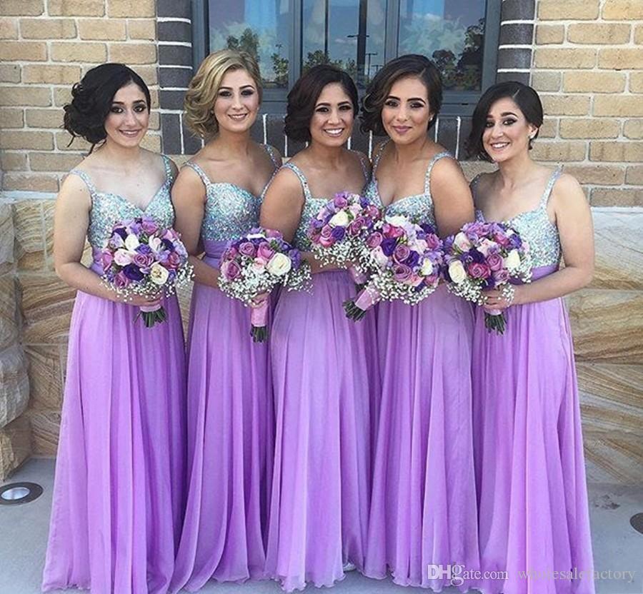 Atacado de verão lavanda longo chiffon uma linha de dama de honra vestidos espaguetes sweetheart vestidos de dama de honra casamento vestidos de convidado 2017