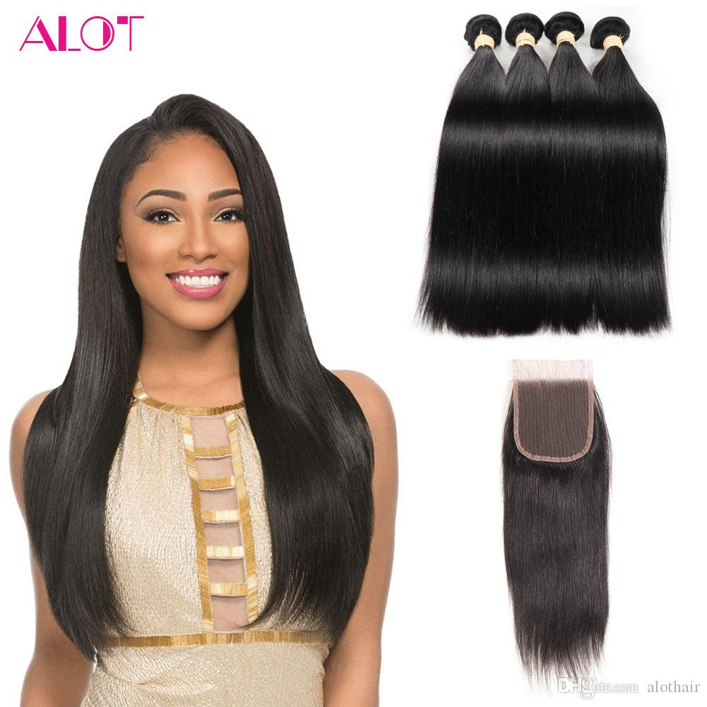 Brazilian Bundles with Closure Unprocessed 4 Bundles Straight Virgin Hair with Closure 4x4 Natural Color Brazilian Human Hair Lace Closure
