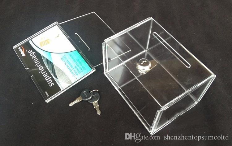 Livraison gratuite 10pcs / lot Comptoir Acrylique Perspex Donation Box Box Container Avec Serrure Pour Donation, Ballot, Tirage Au sort