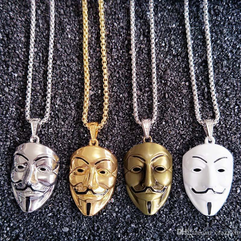 Европа и Соединенные Штаты Америки вокруг фильма V убийцы маска ожерелье прилив мужской хип - хоп аксессуары Оптовая золотые цепи для мужчин