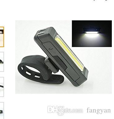 Rechargeable par la lumière principale USB COB Vélo Vélo Avant Arrière Queue Casque Lampe Guidon Tube de cadre Clignotant 6 feux Mod (Blanc)