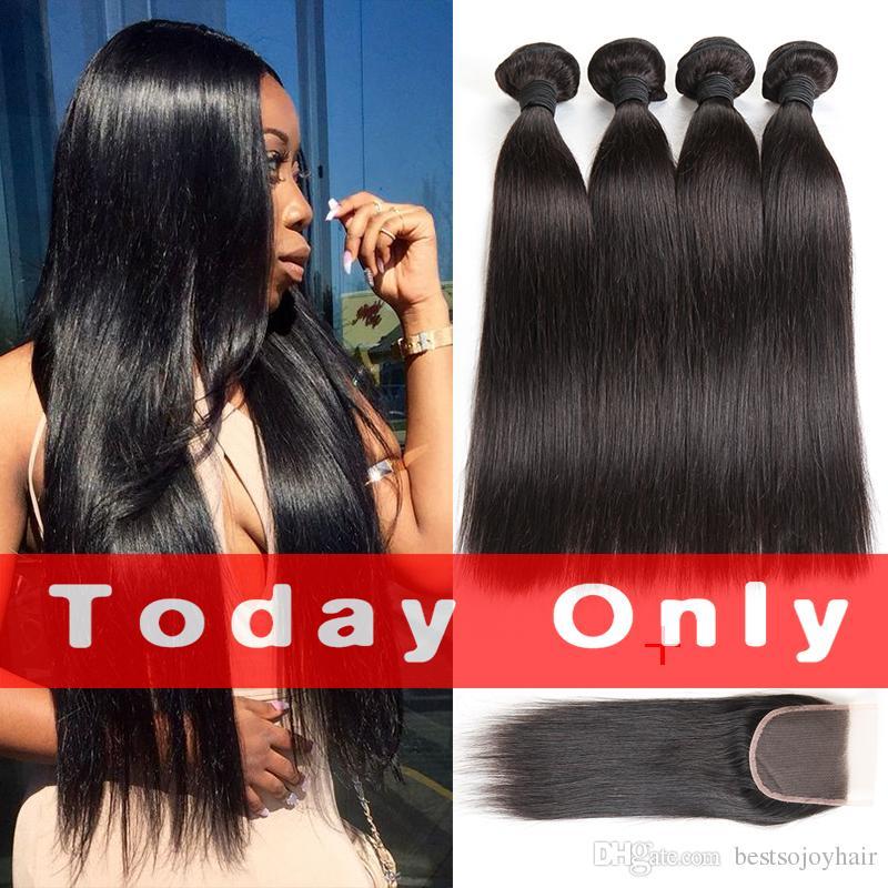 말레이시아 스트레이트 헤어 4 묶음 거래 마감 10A 인도 브라질 스트레이트 인간의 머리카락 마감 최고의 품질 인간의 머리카락 확장