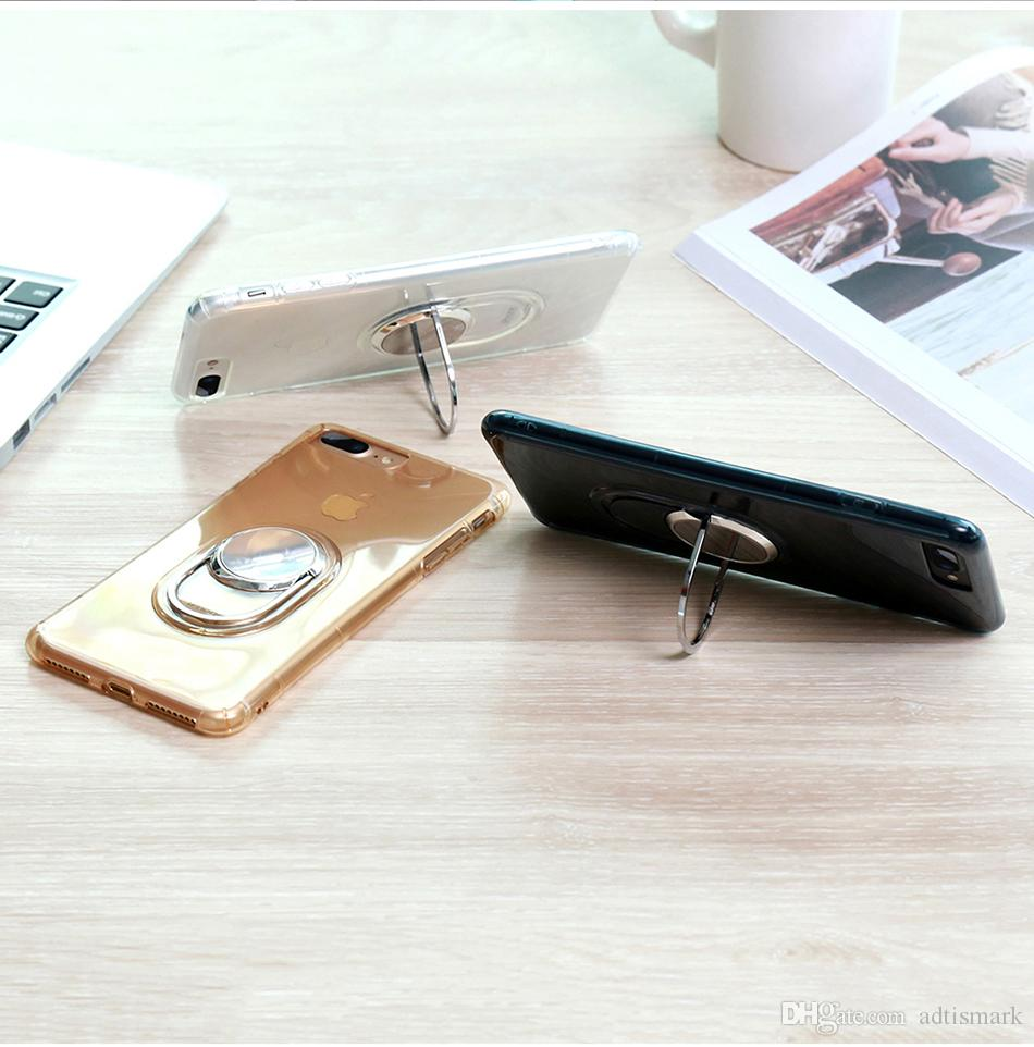 Ring halter stehen case für iphone 6 6s 7 7 plus weiche silikon magnetisch eisen auto halter schutzhülle für iphone 7 case