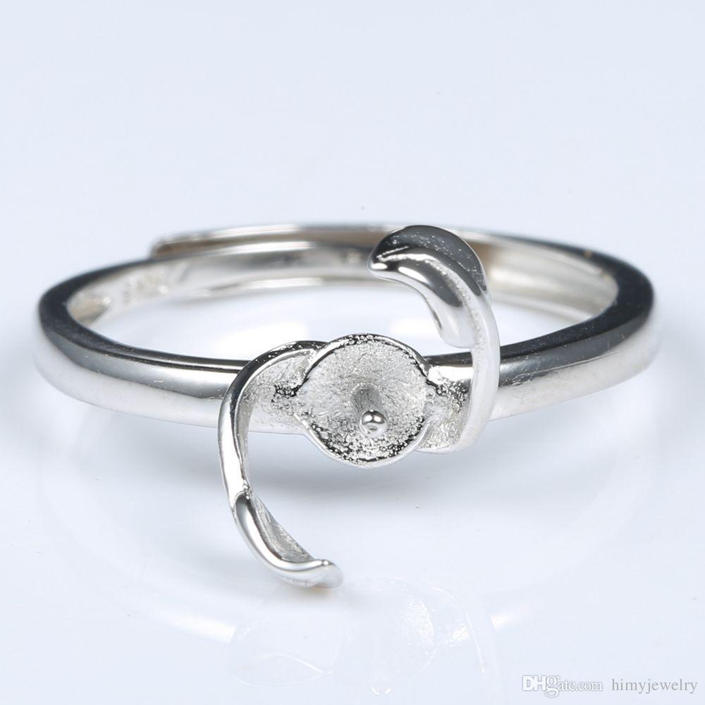 8-10 мм Pearl Semi Mount обручальное кольцо стерлингового серебра 925 женщин тонкой серебряной женщины Шарм ювелирные изделия установка