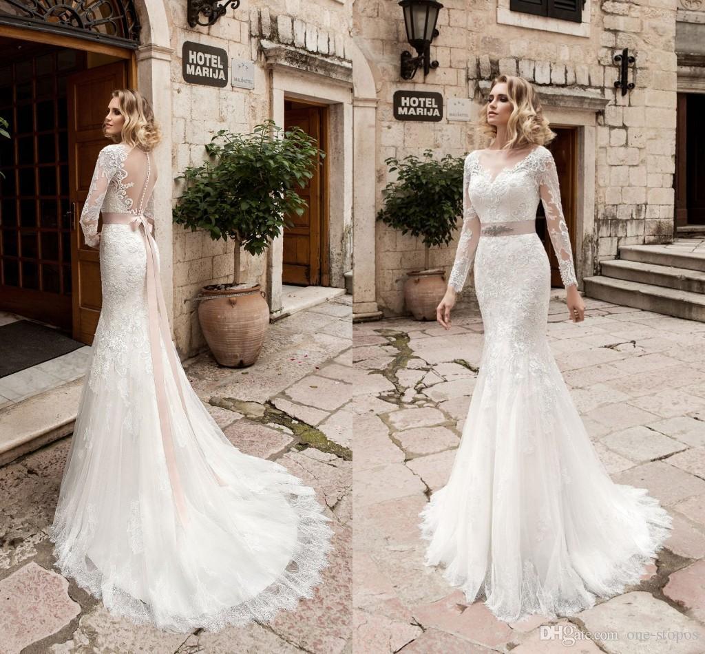 2017 vintage maniche lunghe sirena abiti da sposa sheer bateau appliques di pizzo in rilievo arco sash modest abiti da sposa