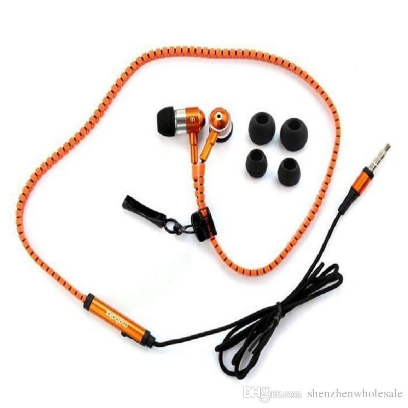Zipper Estéreo de 3.5mm Jack Bass Metal Auriculares Auriculares Auriculares En El Metal Oreja Con Mic y Volumen Earbudos Zip Para El Teléfono Celular Con Embalaje De Caja