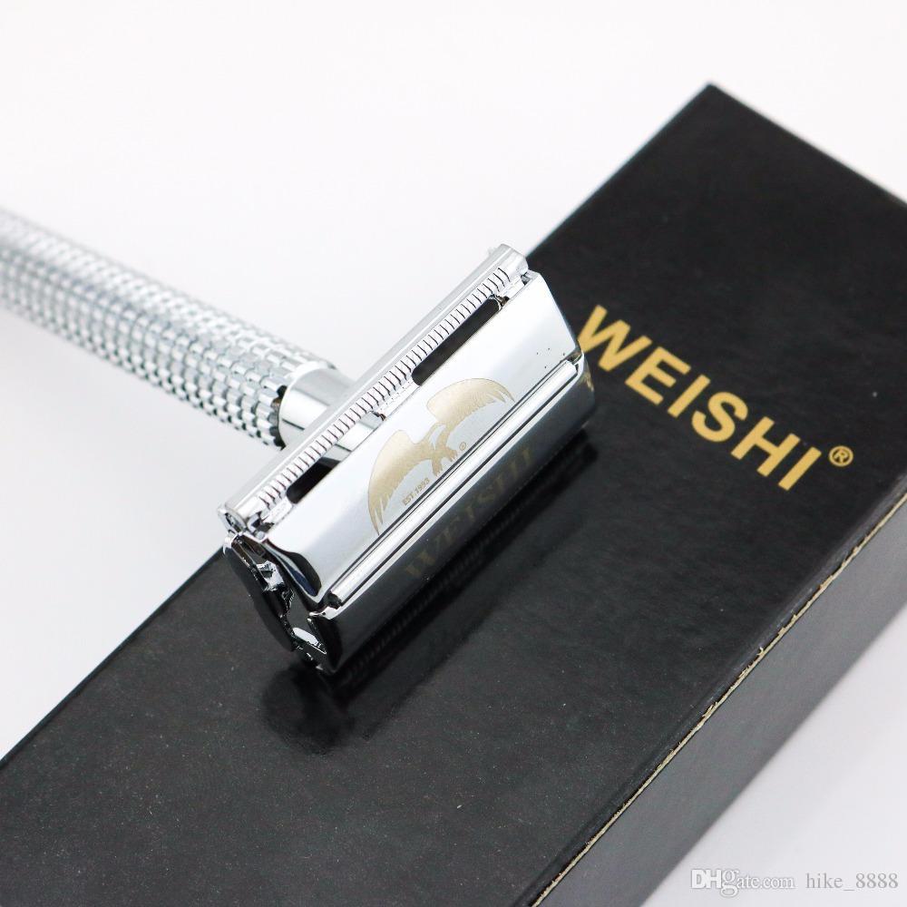 WEISHI Safety Razor Butterfly Rasoir de rasage à double tranchant Silvery Gun couleur Bronze 11.5CM Long Manche Haute Qualité 8 PCS / LOT NOUVEAU