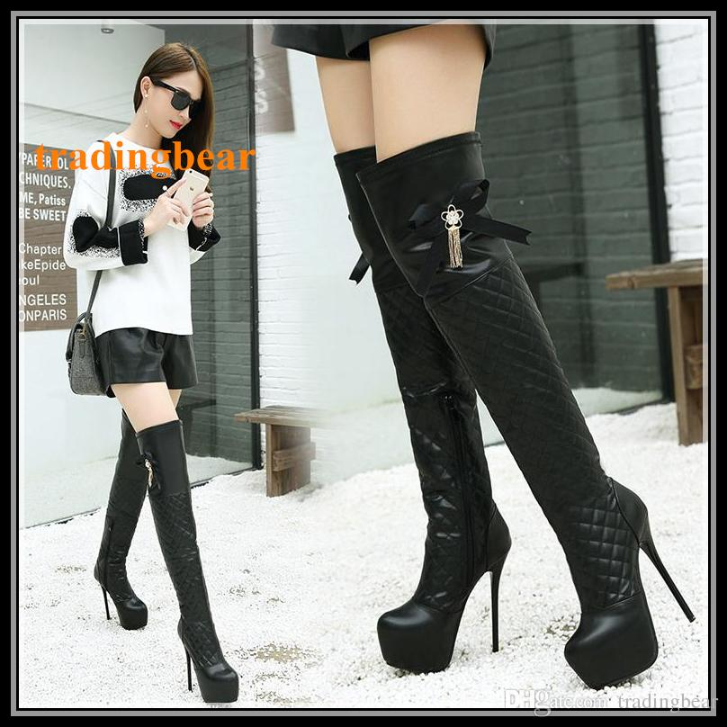 Seksi Kadınlar Siyah PU Diz Boots Papyon Kırmızı Alt İnce Yüksek Topuklar Üzeri Deri Artı boyutu 35 için 40