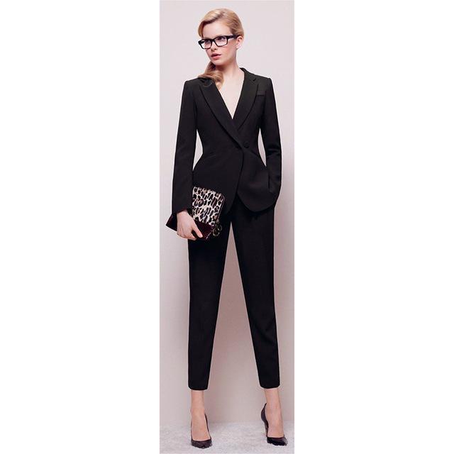 Jacket+Pants Womens BusinessABC Suit Black Long Sleeves Female Office Uniform Ladies Formal Trouser 2 Piece Sets Double Breasted
