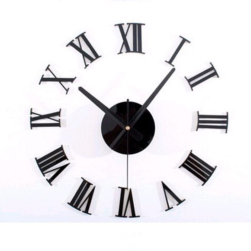 Wholesale- 2016 free shipping new wall sticker clock watch clocks home decoration living room quartz modern acrylic real mirror