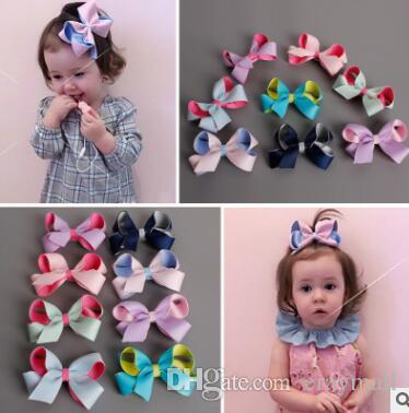 Contrast color stereo twisted bow Children's hair hairpin edge clip Japan and South Korea baby lovely hair clip 8 colors 8cm