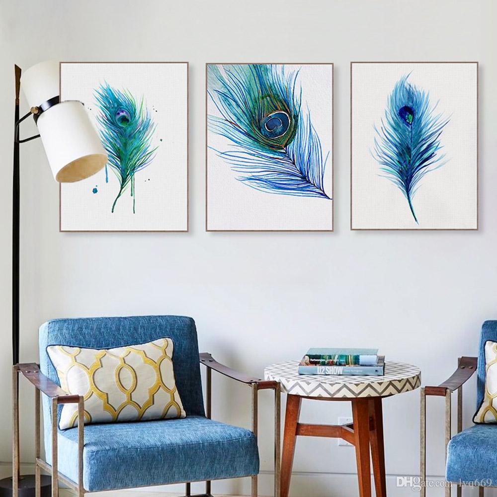 Триптих Акварель Голубое Перо Павлина A4 Плакат Nordic Гостиная Wall Art Print Картина Home Decor Холст Картины Без Рамки