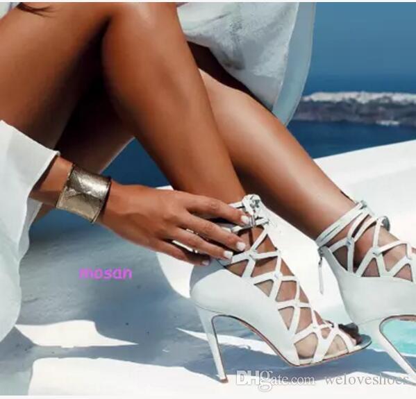 2017 여름 여성 레이스 샌들 섹시한 엿봄 발가락 검투사 샌들 드레스 하이힐 여름 갇힌 부츠 파티 신발