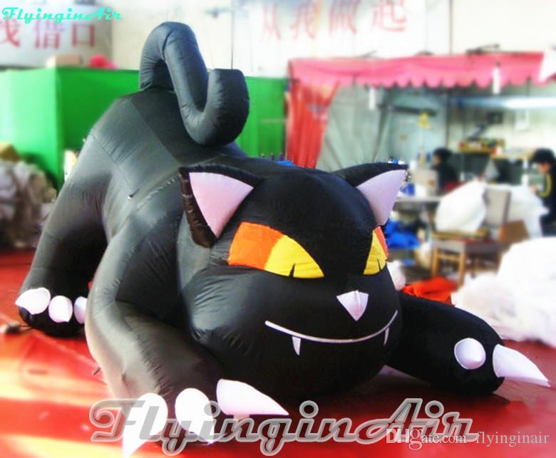 3m Vivid Halloween Inflatable Black Cat for Grass/Doorway Halloween Decoration