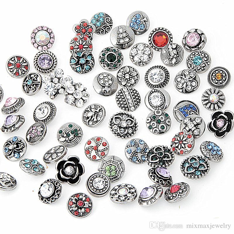 Venta al por mayor caliente surtido Mix 50 unids Vintage Antique Silver Jengibre 12 mm Botones a presión Rhinestone Stone Chunk Charms DIY joyería a estrenar diseños