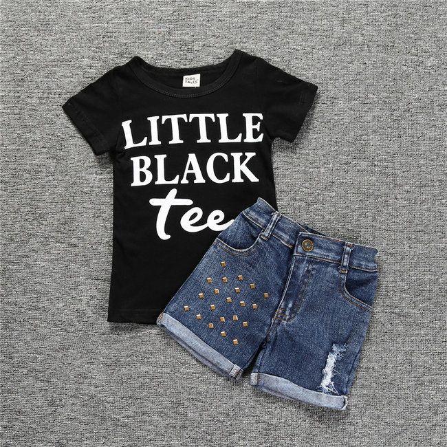 Imposta bambini Abbigliamento nero magliette + shorts in denim per bambine lettera stampata vestiti dei bambini abiti estivi 2 vestiti dei pc