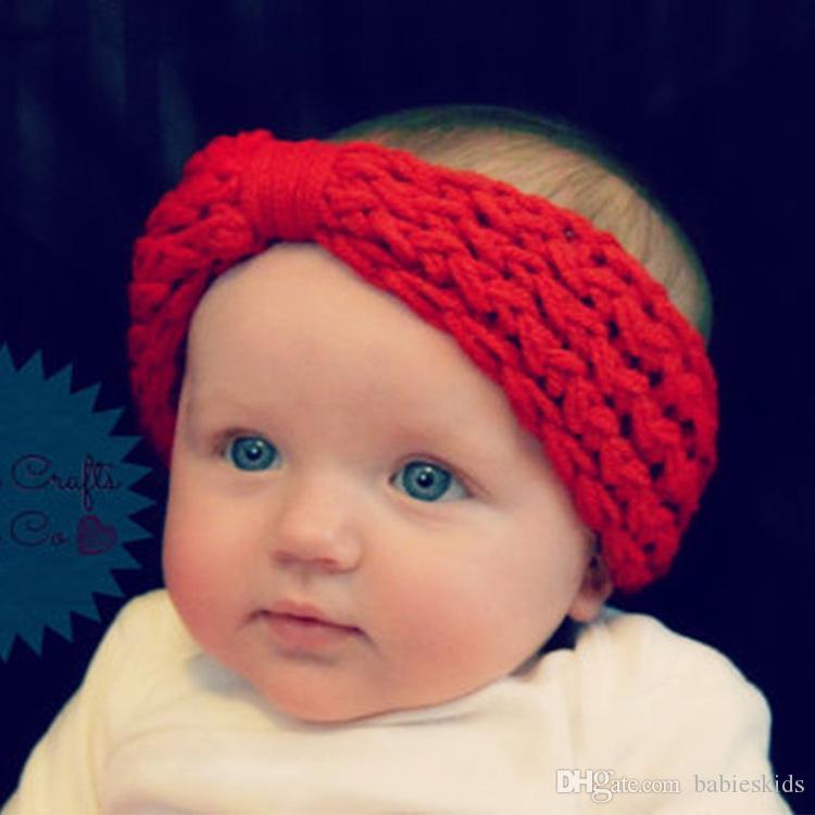 Bebek Turban Örme Kafa Yün Bow Tığ Örgü Çocuk Hairband Kış Kulak Isıtıcı Kafa sarma Bantlar Çocuk Saç AKSESUARLAR ilmek