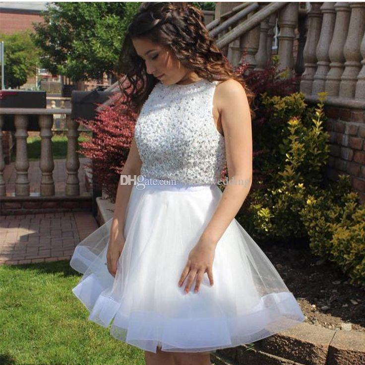 Two Piece White Short Homecoming Dresses Bateau Neck Sleeveless Sequins  Beaded Tulle Plus Size Prom Dresses Short Party Dresses Dresses For Special  ...