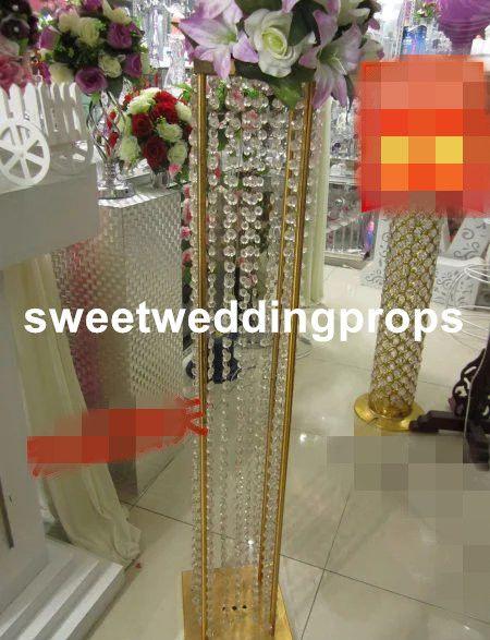 vaso d'argento o oro per centrotavola matrimonio / vasi da tavola di nozze / cristallo acrilico vaso di nozze a buon mercato
