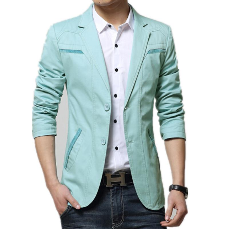 2017 Mens Fashion Suit Slim 2016 Blazer Sky Blue/Light Grey/Khaki ...