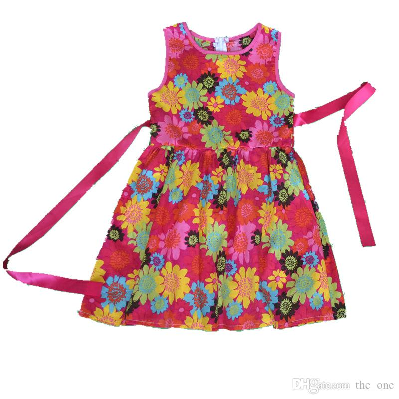 New Fashion Baby Girls Child Sunflower Pattern Princess Party Kid Summer Sleeveless A-Line floral Dress with Ribbons