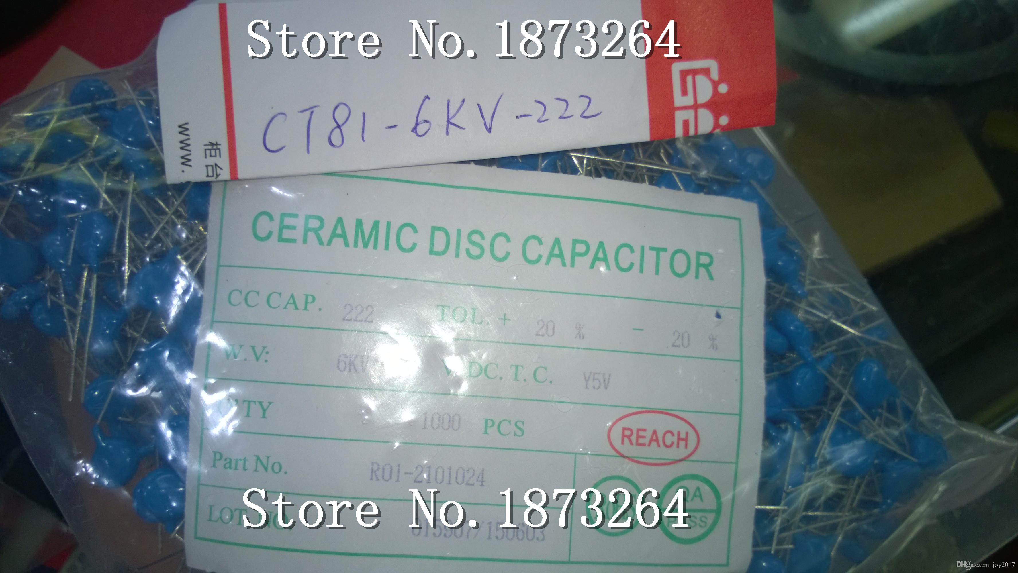 Freie shippingHigh Spannung keramische Kondensatoren CT81-6KV-222 6000V 2200pf Motherboard Kondensatoren 100PCS / LOT