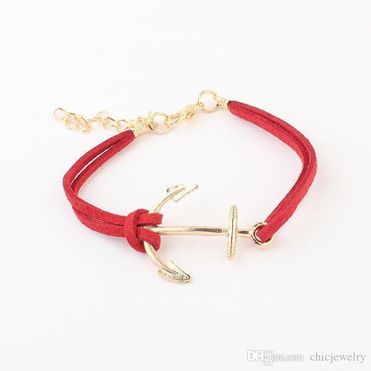 Charm Bilezikler Deri Bilezik Antik Çapa Bilezikler Bilezikler Çift Katmanlı Elişi Moda Takılar Aksesuarlar chain bracelet Brace dantel