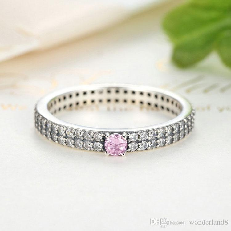 three rs engagement pink size emerald cut ring pk cz stone silver jewelry bling rings sterling