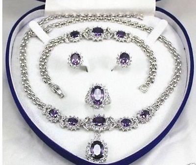 Бесплатная доставка женские ювелирные изделия фиолетовый драгоценный камень 18kgp серьги браслет ожерелье кольцо нет коробки