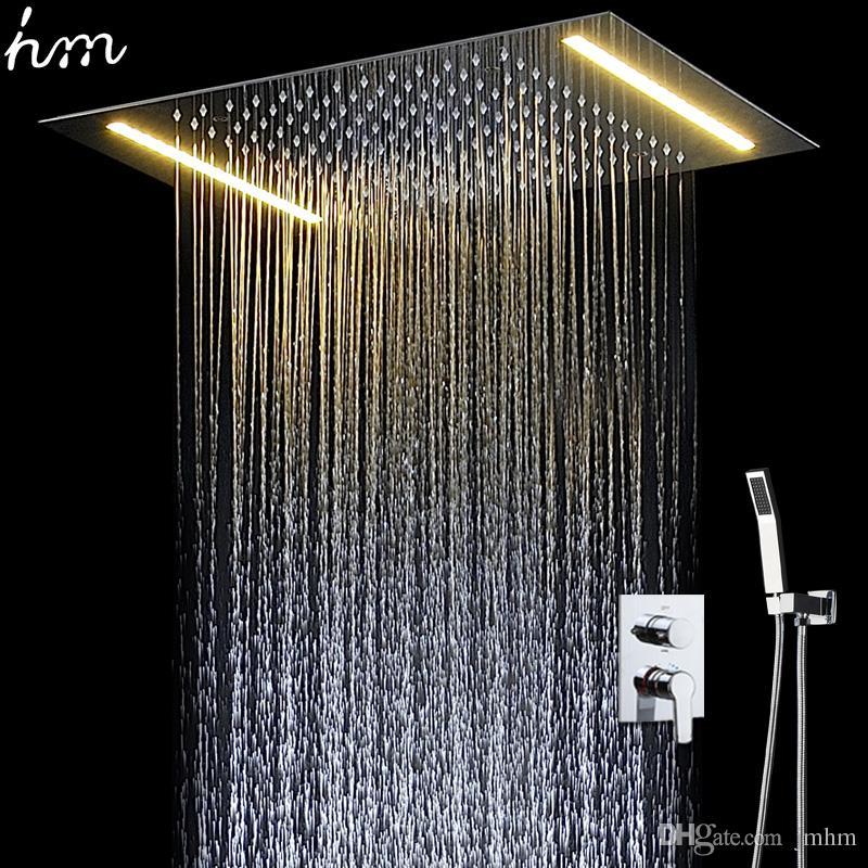 욕실 수도꼭지 샤워 LED 목욕 세트 은폐 된 대형 샤워 꼭지 강우 따뜻한 음식이 제공되는 믹서 탭